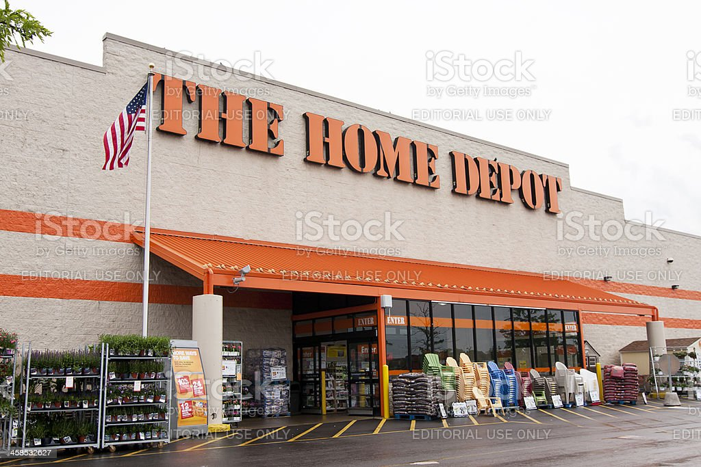 The Home Depot Store Mount Prospect, IL, USA - May 29, 2011: Entrance of The Home Depot home improvement store in Mount Prospect, IL, a suburb of Chicago.  Plants and chairs for sale are displayed in front of store. Building Exterior Stock Photo