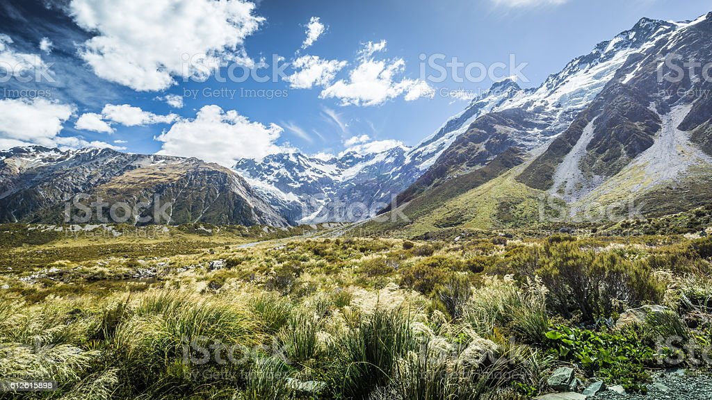 The Hooker Valley New Zealand stock photo