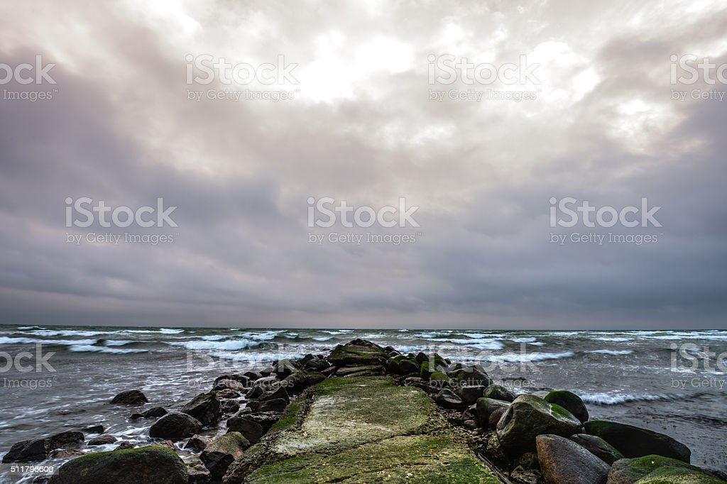 The horizon at the far south end of Sweden stock photo