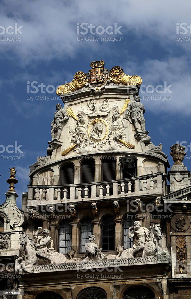 'The Horn' Guild House, Grand Place, Brussels, Belgium. stock photo