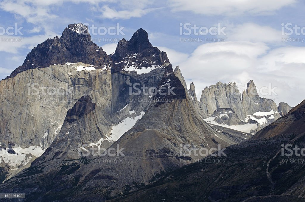 The Horns of Paine in Torres-Del-Paine National Park, Patagonia, Chile stock photo