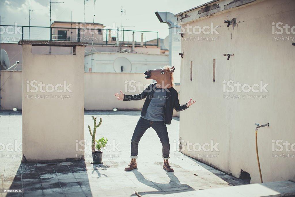 The horse head chronicles: on the terrace stock photo