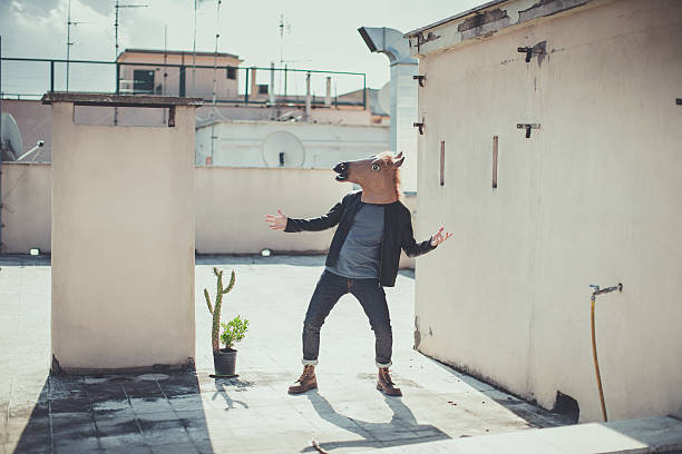 the horse head chronicles: on the terrace - lustige pferde stock-fotos und bilder