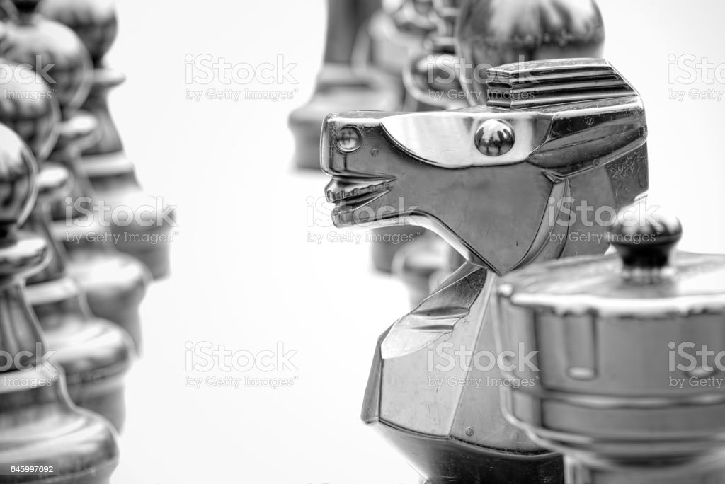 The horse in chess, strategy concept (black and white) stock photo