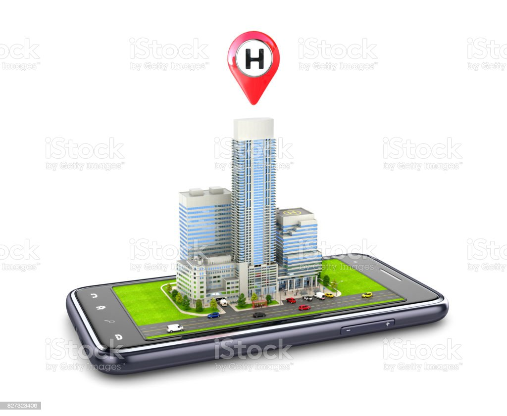 The hospital building is located on the smartphone. Gps navigator.3D illustration stock photo