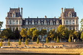 Paris, France - August 13, 2018: View of Paris City Hall (Hotel de Ville) - Paris, France. It house the local administration and the Mayor of Paris.