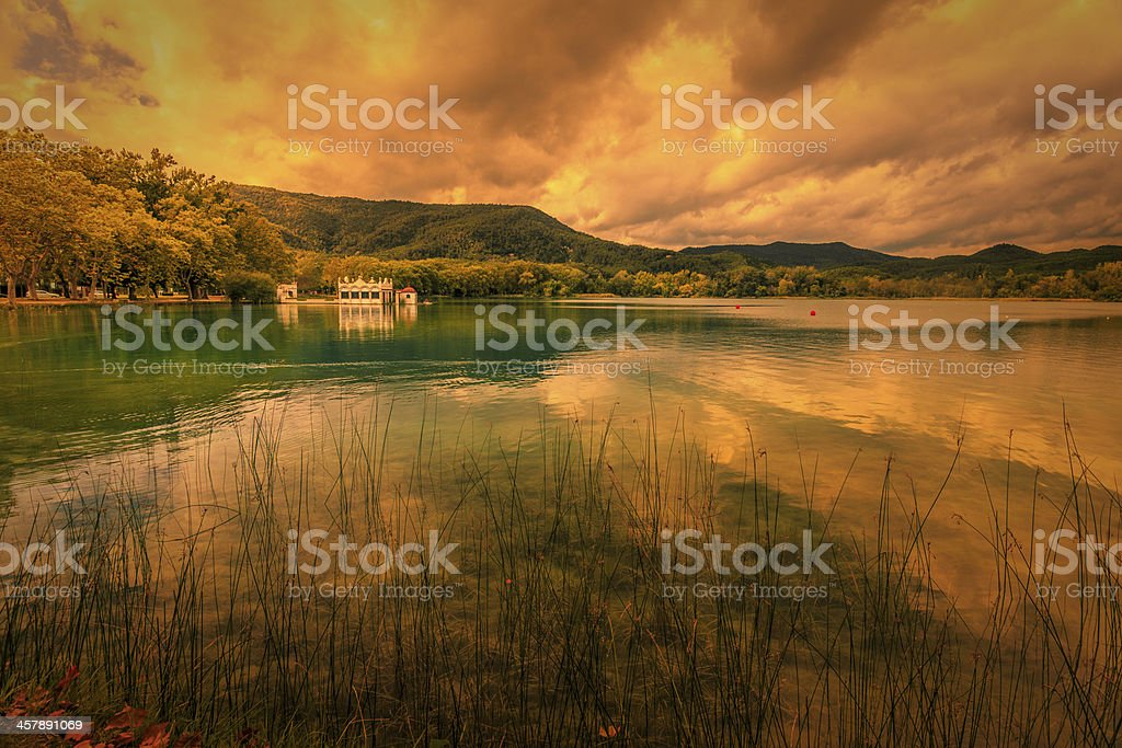 The house in lagoon stock photo