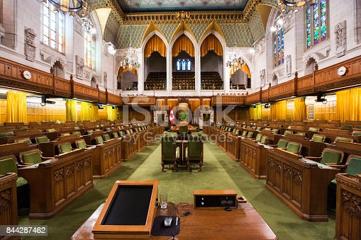 The Canadian House of Commons in the Parliament building, Ottawa, Ontario, Canada.