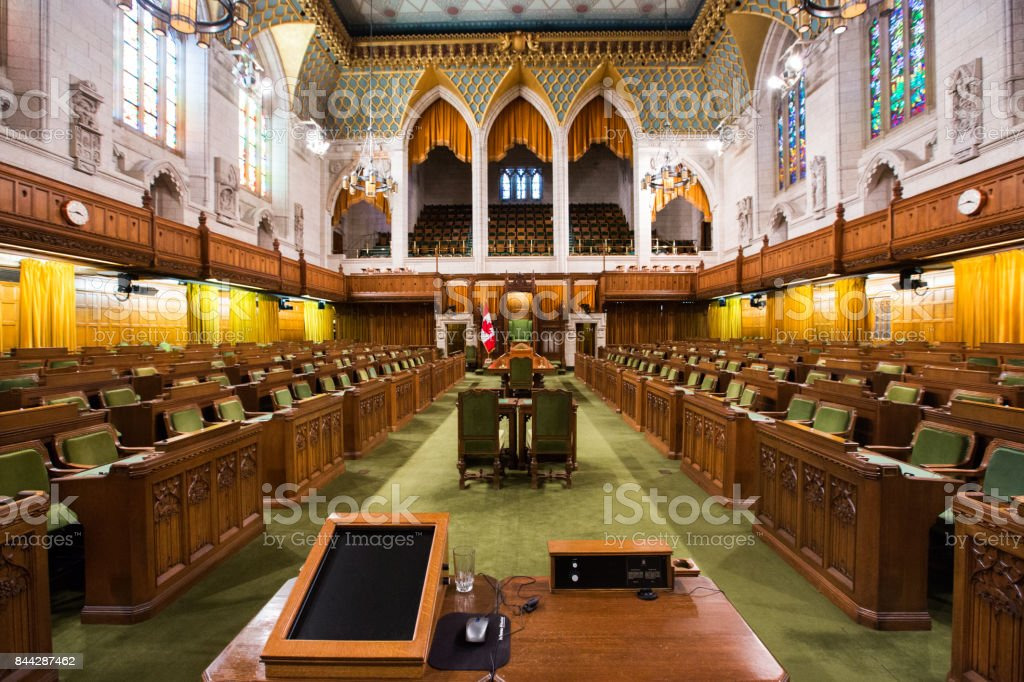 The House of Commons in the Canadian Parliament Building stock photo