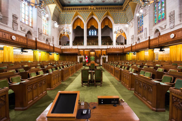 the house of commons in the canadian parliament building - canada parliament stock photos and pictures