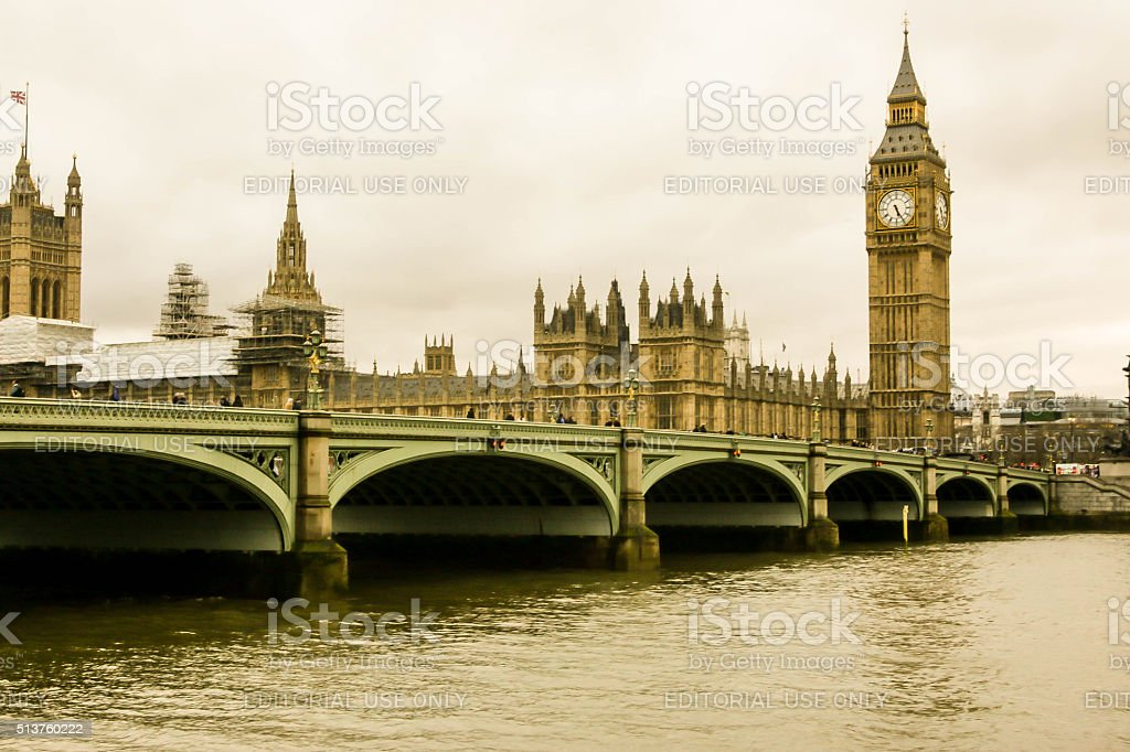 The Houses Of Parliament, Westminster Bridge stock photo