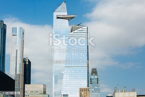 NEW YORK,NY/USA/ September 28th, 2019 : The Hudson Yards skyscrapers 30 and 10 with observation deck The Edge and other tall buildings