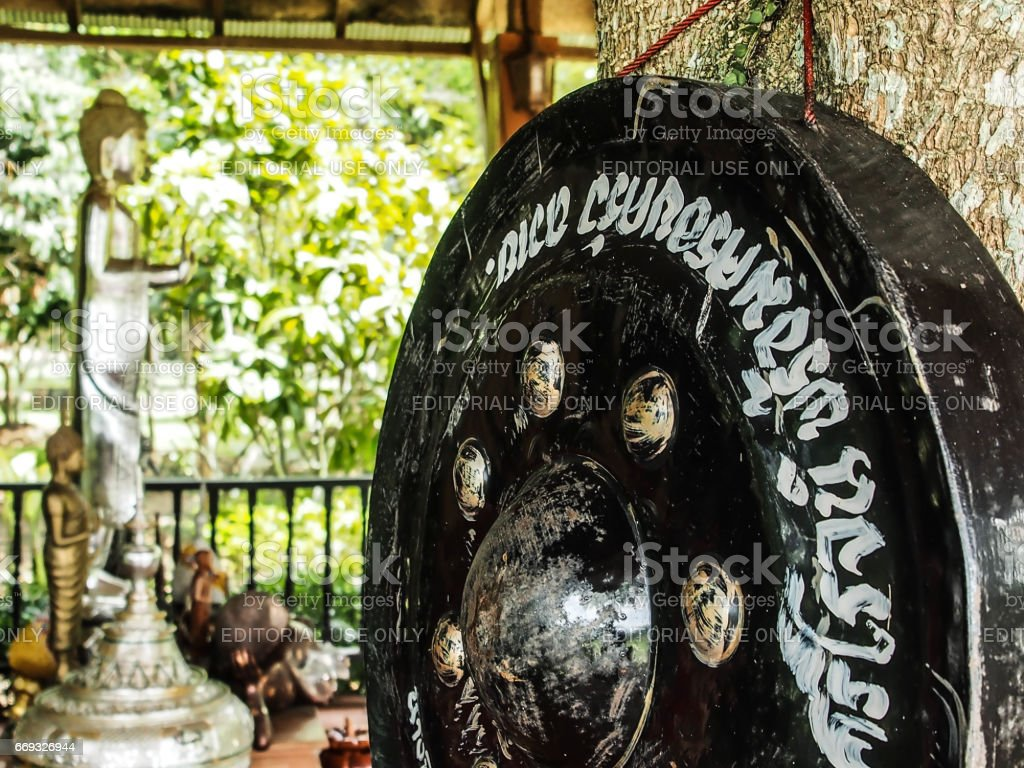 The huge bell with the sculpture of buddha. stock photo