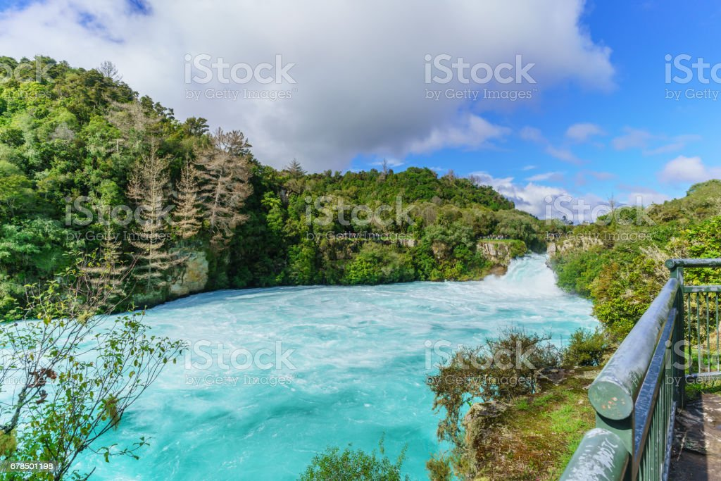 The Huka falls are the largest , fast and powerful waterfalls on the Waikato River , located in Wairakei Park of Taupo , North Island of New Zealand stock photo
