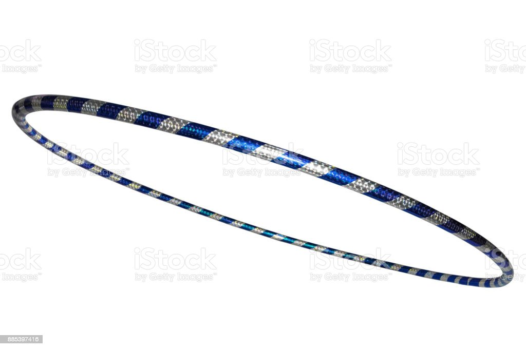 The hula Hoop silver with blue. Isolated on white background stock photo