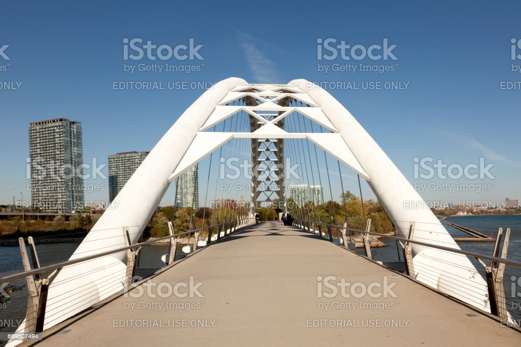 The Humber Bay Arch Bridge in Toronto stock photo