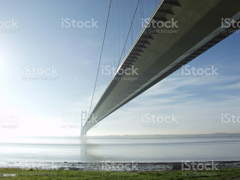 The Humber Bridge spanning across the water stock photo