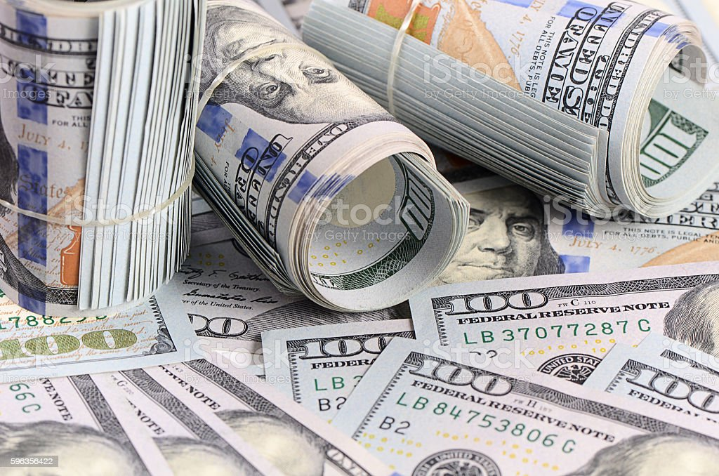 The hundred dollar banknotes as background royalty-free stock photo