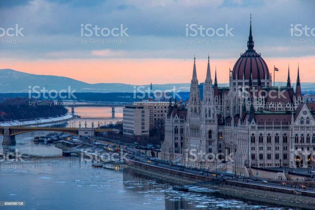 The hungarian parlament at sunset stock photo