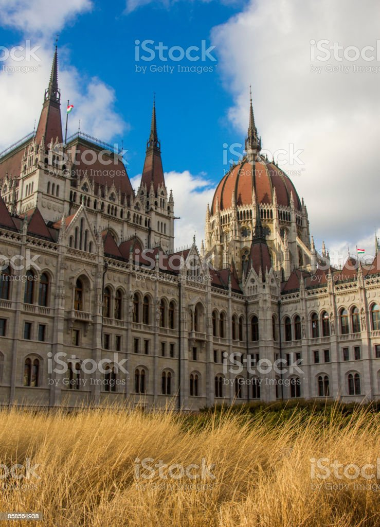 The Hungarian Parlament at winter stock photo