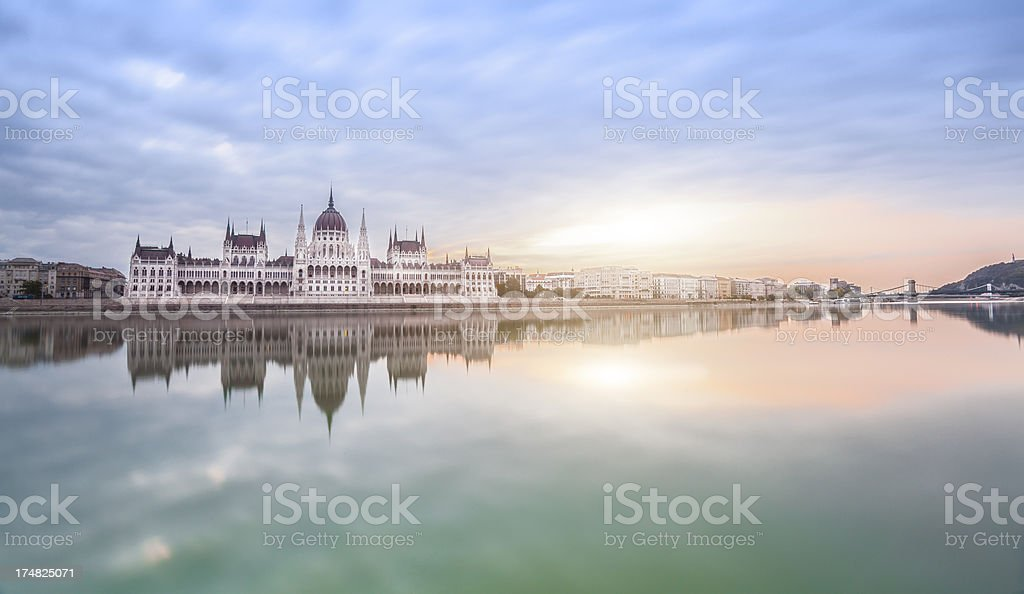 The Hungarian parliament in morning light. stock photo