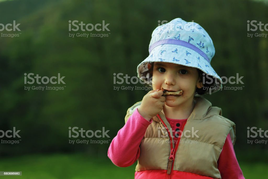 The hungry girl royalty-free stock photo