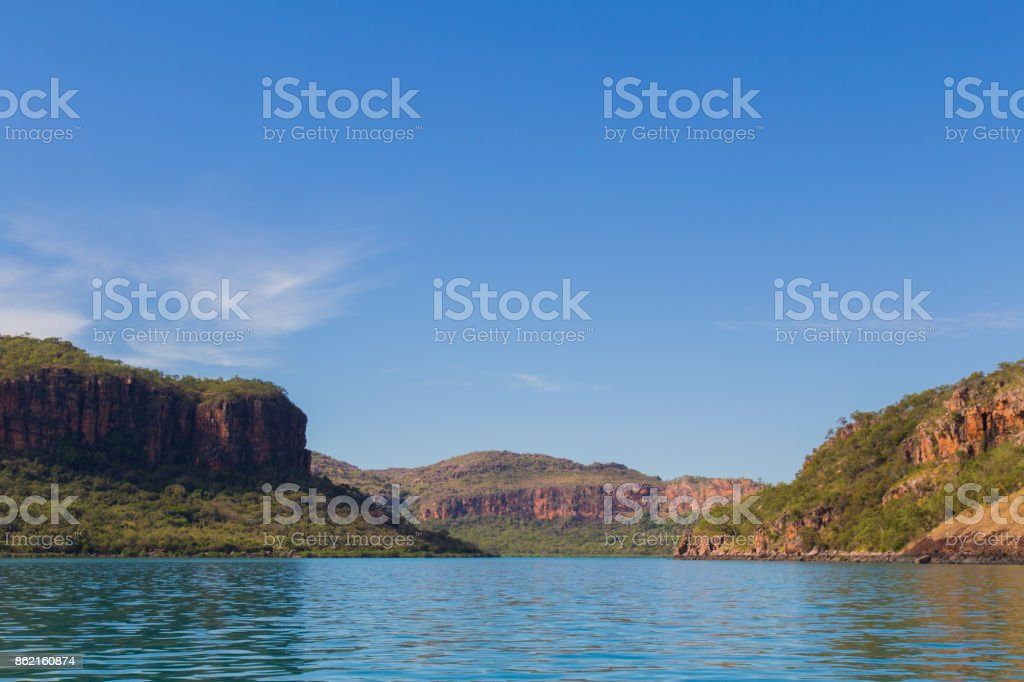The Hunter River Estuary. Huge sandstone cliffs surround the landscape mixed in with mangrove wetlands. Kimberley, Australia stock photo