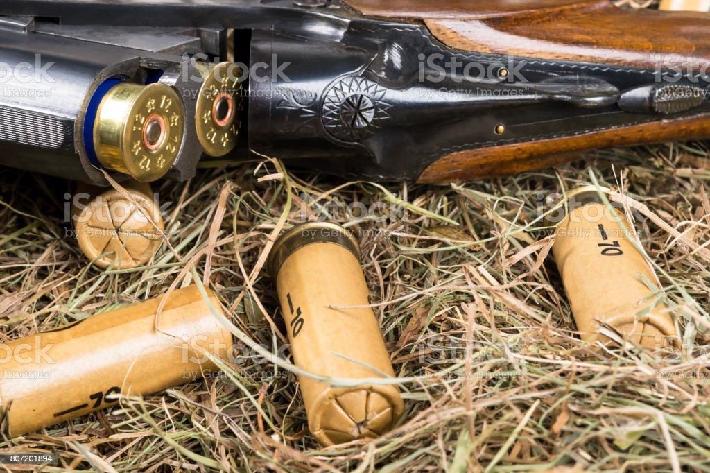 The hunting rifle lies in a straw with cartridges stock photo
