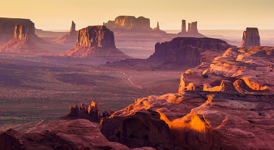 A stunning sunset on the Monument Valley, photographed from the remote rock formation known as The Hunt's Mesa