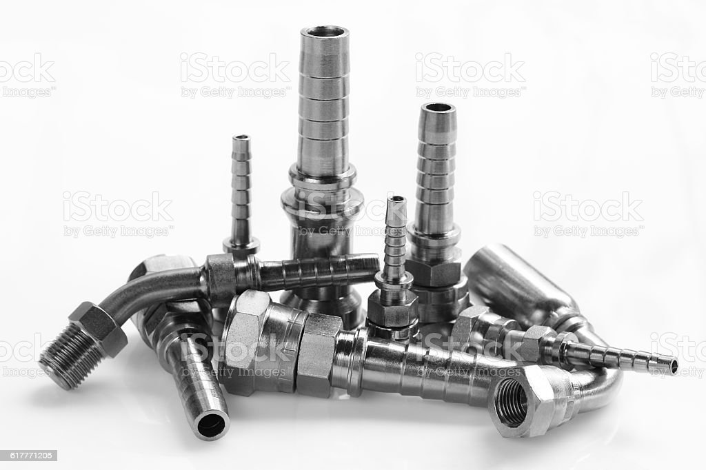 The hydraulic fitting. stock photo