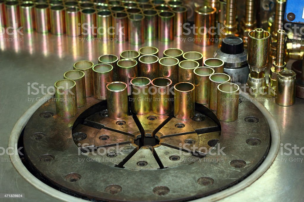 The hydraulic pressing machine. stock photo