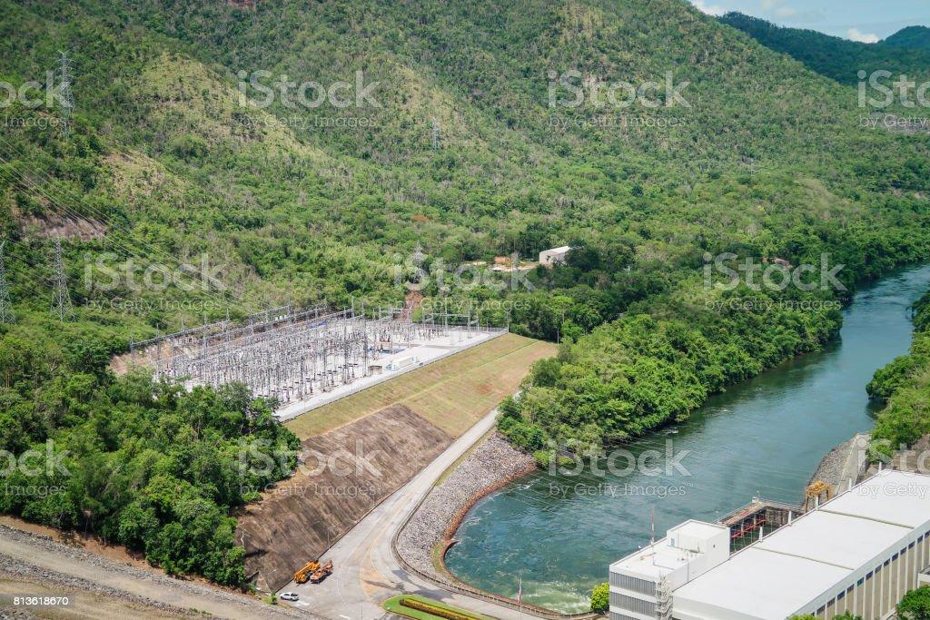 The hydroelectric power generation at the Srinakarin Dam at Kanchanaburi, Thailand. stock photo