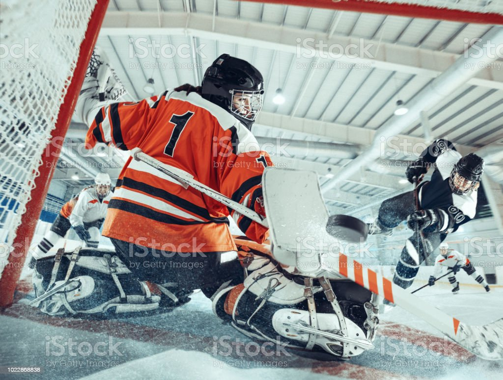 The ice hockey sport female players in action, motion, movement. Sport comptetition concpet, girls on training or game at arena - Foto stock royalty-free di Adulto