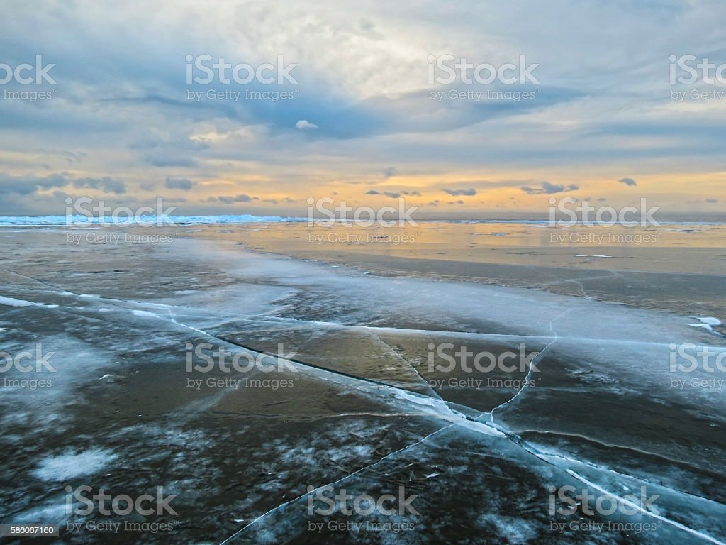 The ice of Lake Baikal. stock photo