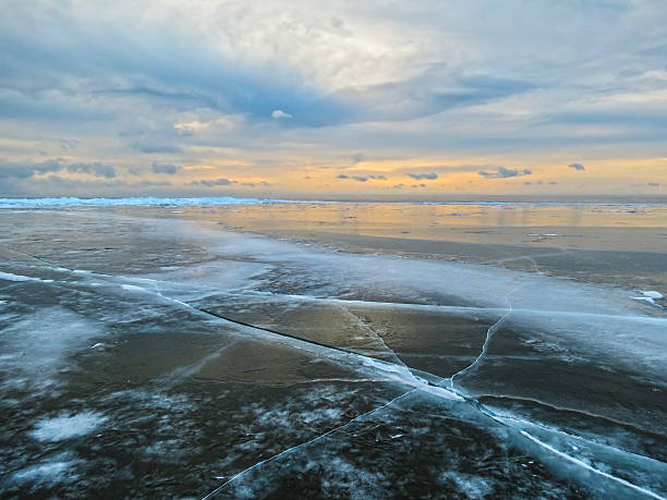 The ice of Lake Baikal. stock photo