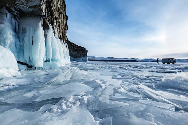 The ice of Lake Baikal stock photo