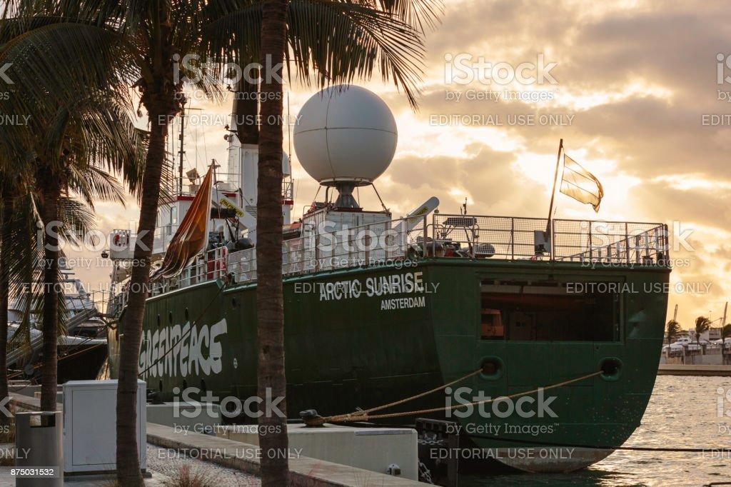 The Icebreaking Arctic Sunrise at Museum Park - Miami stock photo