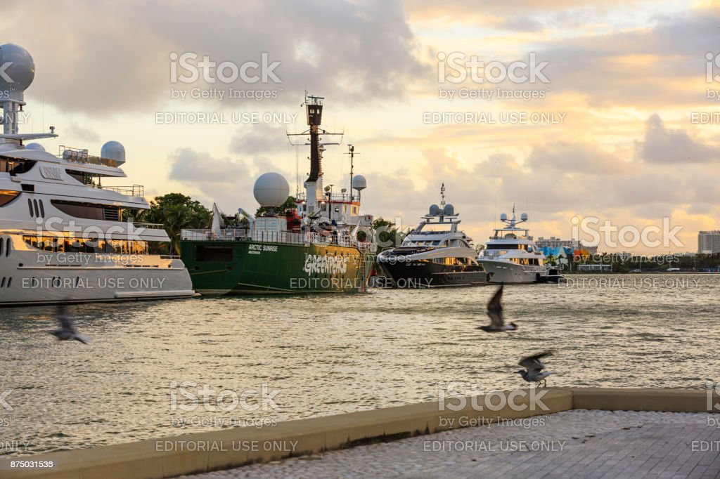 The Icebreaking Arctic Sunrise at Museum Park - Miami stock photo