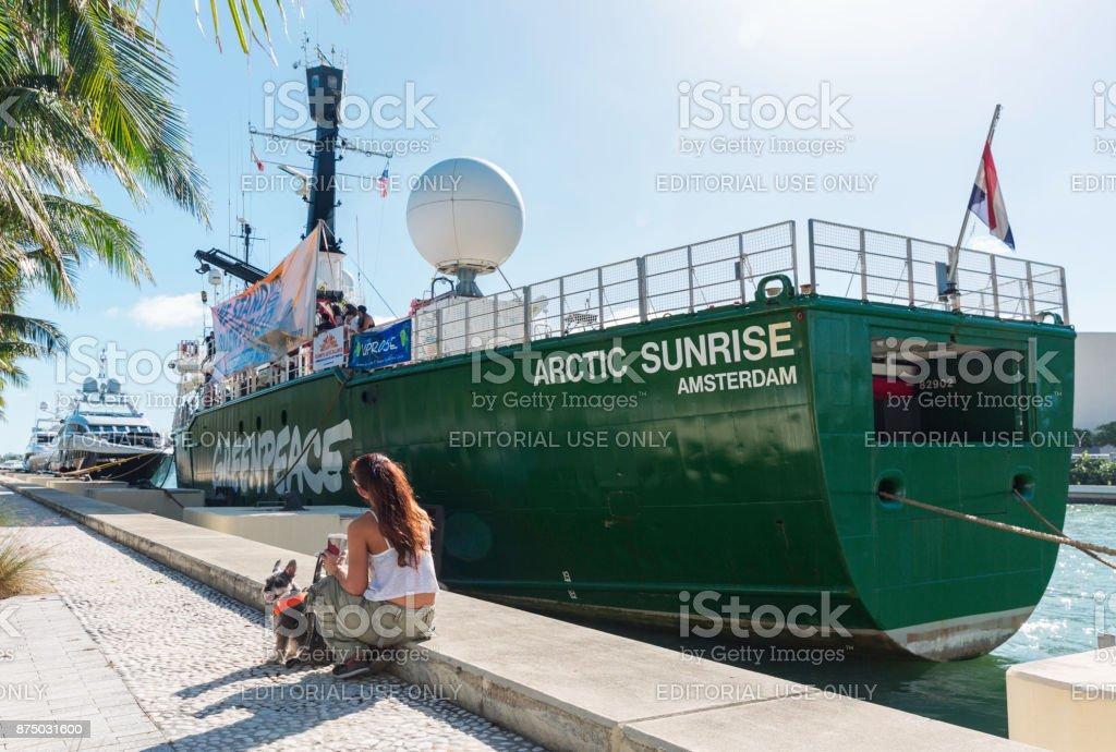 The Icebreaking Arctic Sunrise Leaving Miami stock photo