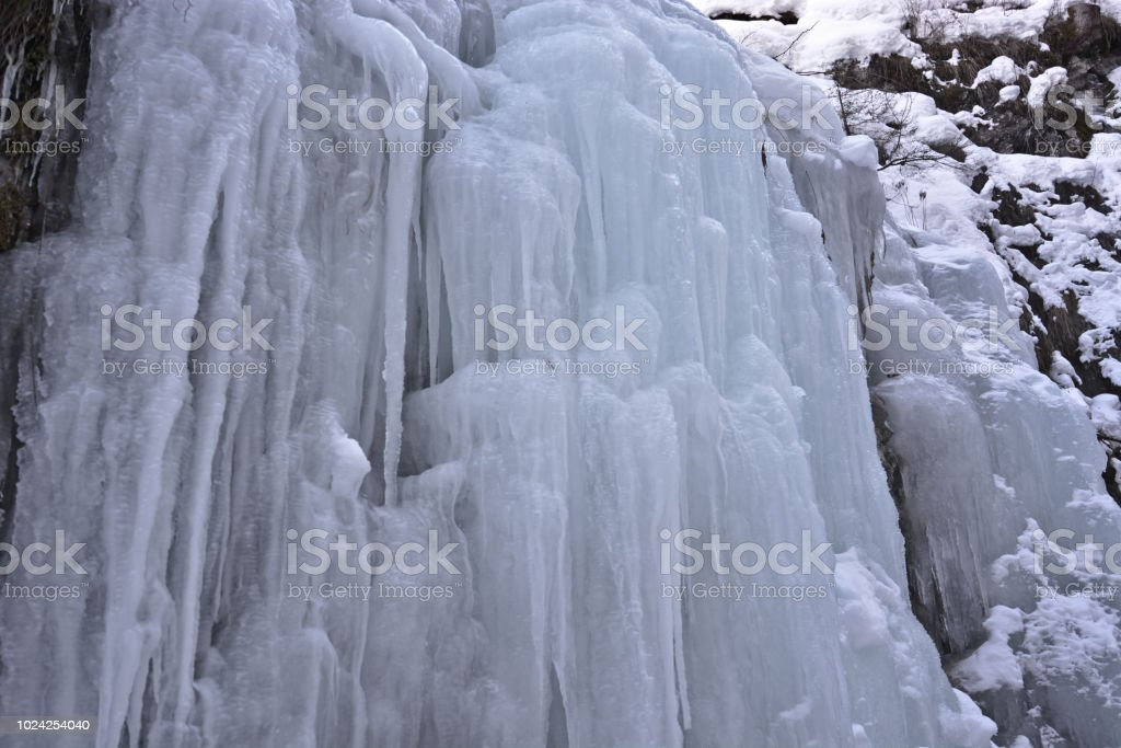 the icefalls of a cold winter stock photo
