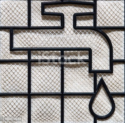 istock the icon of the water tap with water drop on the hepa vacuum filter 1160372643
