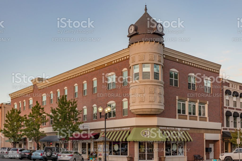 The iconic Acorn Building with a clocktown at the corner of 12th and Park Street in Downtown Paso Robles, California. stock photo
