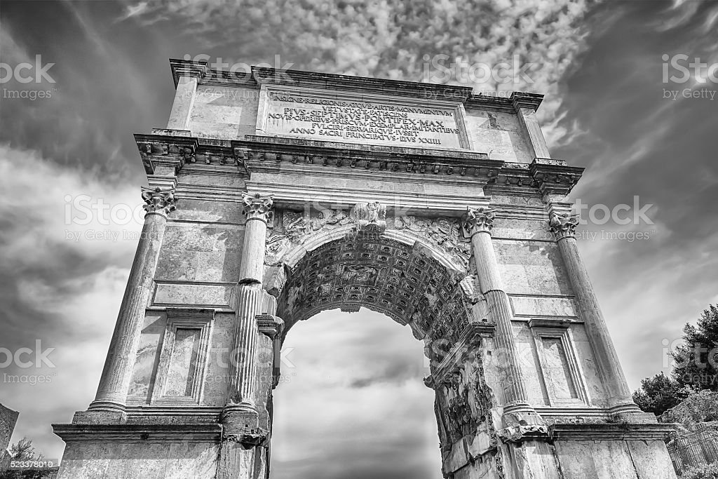 The iconic Arch of Titus in the Roman Forum, Rome stock photo