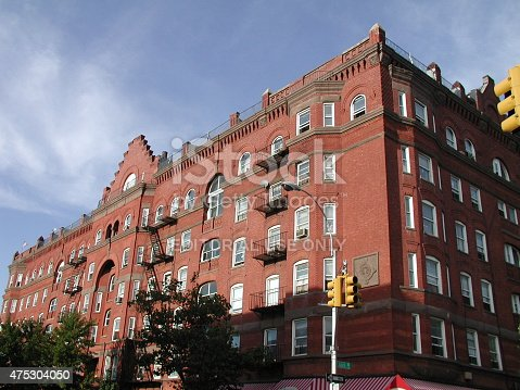 Brooklyn, NY, USA - September 6, 2003: View of the iconic Astral Apartment building in Greenpoint Brooklyn. The Astral is a beautiful brick landmark building with a storied history.