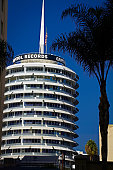 Los Angeles, CA/USA - Oct 27, 2017 : The iconic Capital Records Building in Hollywood,  The Capitol Records building is a landmark of Hollywood and was built in 1955 - 1956 and was designed to look like a stack of records.