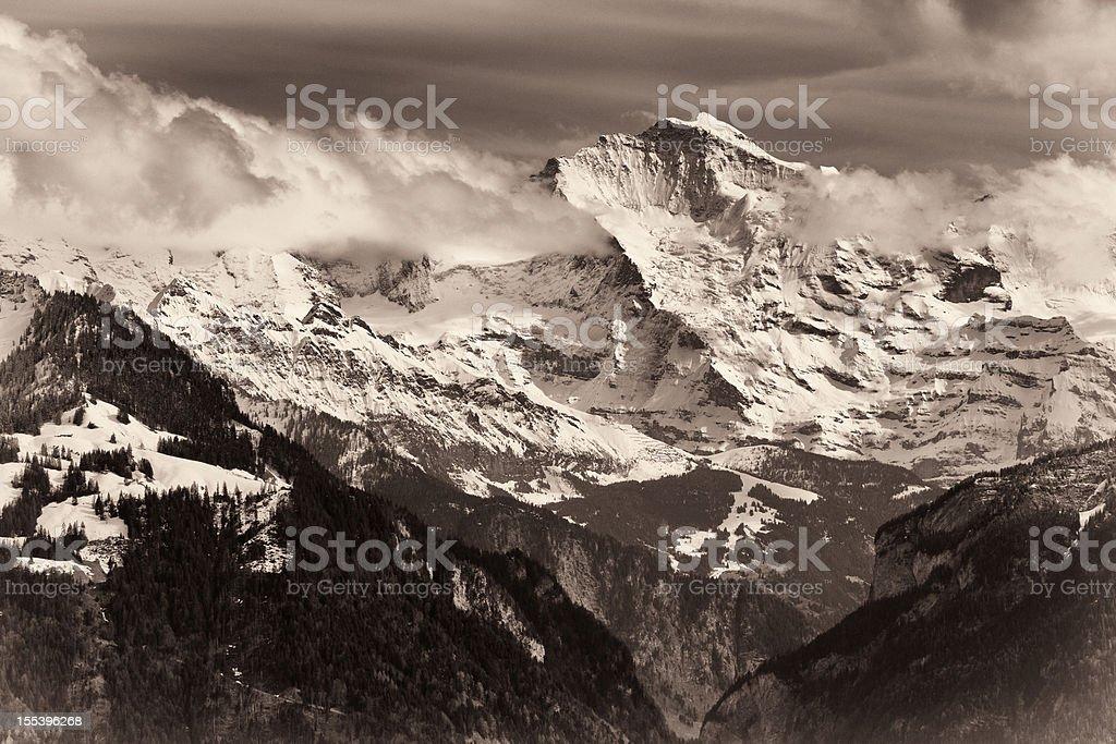 The Iconic Jungfrau, a symbol of Switzerland, monochromatic royalty-free stock photo