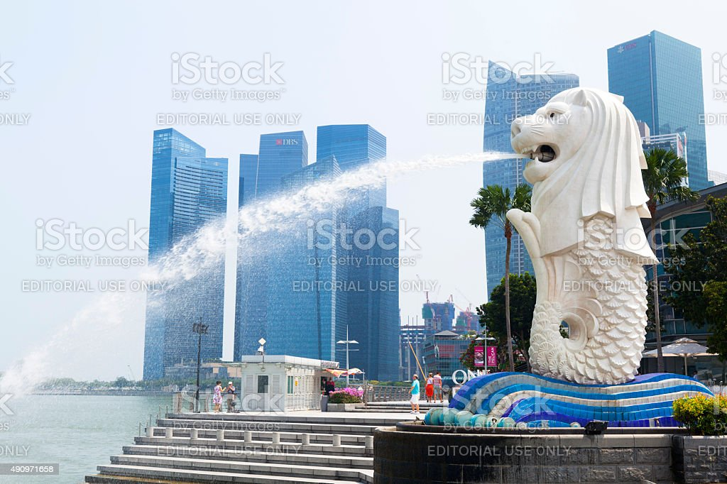 The Iconic Merlion fountain in Singapore stock photo