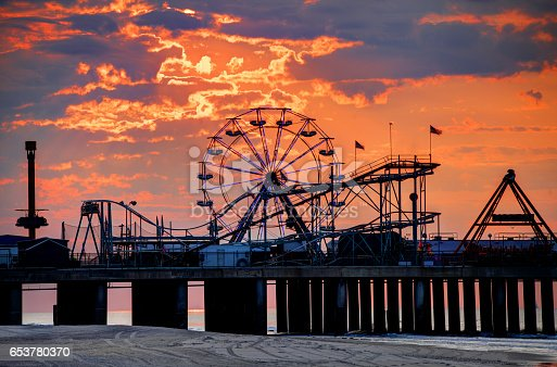 The iconic Steel Pier on the Atlantic City Boardwalk. Atlantic City is known for its two mile long boardwalk, gambling casinos, great nightlife, beautiful beaches, and the Miss America Pageant
