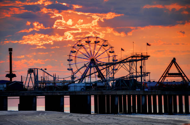 The iconic Steel Pier on the Atlantic City Boardwalk stock photo