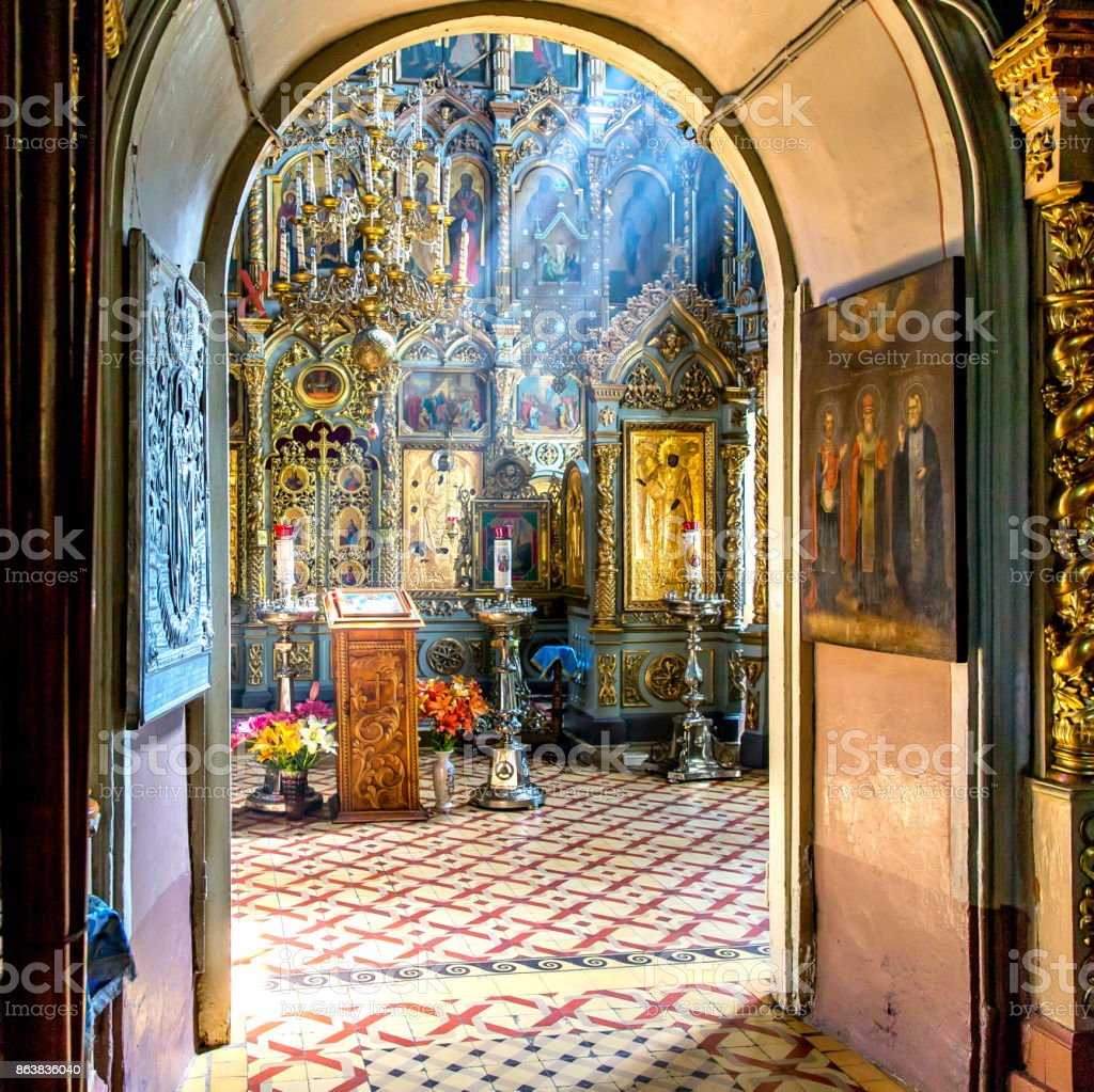 The iconostasis in the temple in the sun stock photo